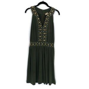 Michael Kors Gold Studded Dress Green XS